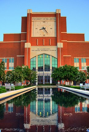 North side of Oklahoma Memorial Stadium at sunset Norman, OK